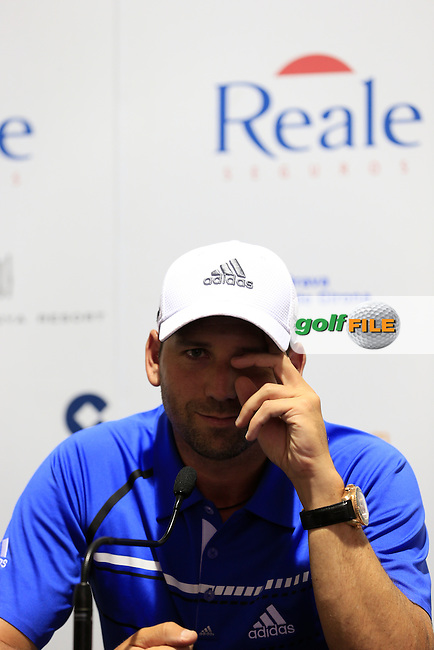 Sergio Garcia (ESP) press conference during Wednesday's Pro-Am of the 2014 Open de Espana held at the PGA Catalunya Resort, Girona, Spain. Wednesday 14th May 2014.<br /> Picture: Eoin Clarke www.golffile.ie