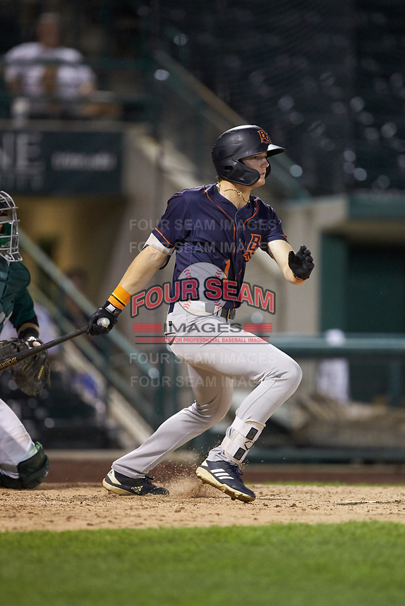 Nick Schnell (1) of the Bowling Green Hot Rods follows through on his swing against the Fort Wayne TinCaps at Parkview Field on August 20, 2019 in Fort Wayne, Indiana. The Hot Rods defeated the TinCaps 6-5. (Brian Westerholt/Four Seam Images)