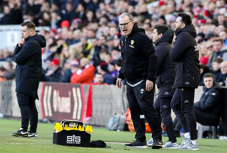 Leeds United manager Marcelo Bielsa shouts instructions to his team from the technical area<br /> <br /> Photographer Alex Dodd/CameraSport<br /> <br /> The EFL Sky Bet Championship - Middlesbrough v Leeds United - Saturday 9th February 2019 - Riverside Stadium - Middlesbrough<br /> <br /> World Copyright &copy; 2019 CameraSport. All rights reserved. 43 Linden Ave. Countesthorpe. Leicester. England. LE8 5PG - Tel: +44 (0) 116 277 4147 - admin@camerasport.com - www.camerasport.com