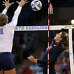 10 September 2015: Stanford's Brittany Howard (16). The University of North Carolina Tar Heels hosted the Stanford University Cardinal at Carmichael Arena in Chapel Hill, NC in a 2015 NCAA Division I Women's Volleyball contest. North Carolina won the match 25-17, 27-25, 25-22.
