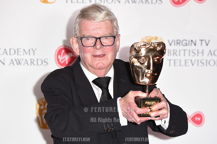 John Motson in the winners room for the BAFTA TV Awards 2018 at the Royal Festival Hall, London, UK. <br /> 13 May  2018<br /> Picture: Steve Vas/Featureflash/SilverHub 0208 004 5359 sales@silverhubmedia.com