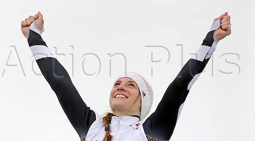 14.03.2014. Sochi, Russia.  Anna Schaffelhuber of Germany celebrates after winning the Women's Super Combined Sitting in Rosa Khutor Alpine Center at the Sochi 2014 Paralympic Winter Games, Krasnaya Polyana, Russia, 14 March 2014.
