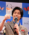 """April 19, 2018, Tokyo, Japan - Japanese actor Mokomichi Hayami tastes Bordeaux wine at a promotional event of French Bordeaux wines in Tokyo on Thursday, April 19, 2018. Bordeaux wine bureau C.I.V.B. will have a three-day event """"My Bordeaux Party"""" to provide 100 selected brands Bordeaux wines with 300yen for a glass at a pop-up bar from April 20.  (Photo by Yoshio Tsunoda/AFLO) LWX -ytd-"""