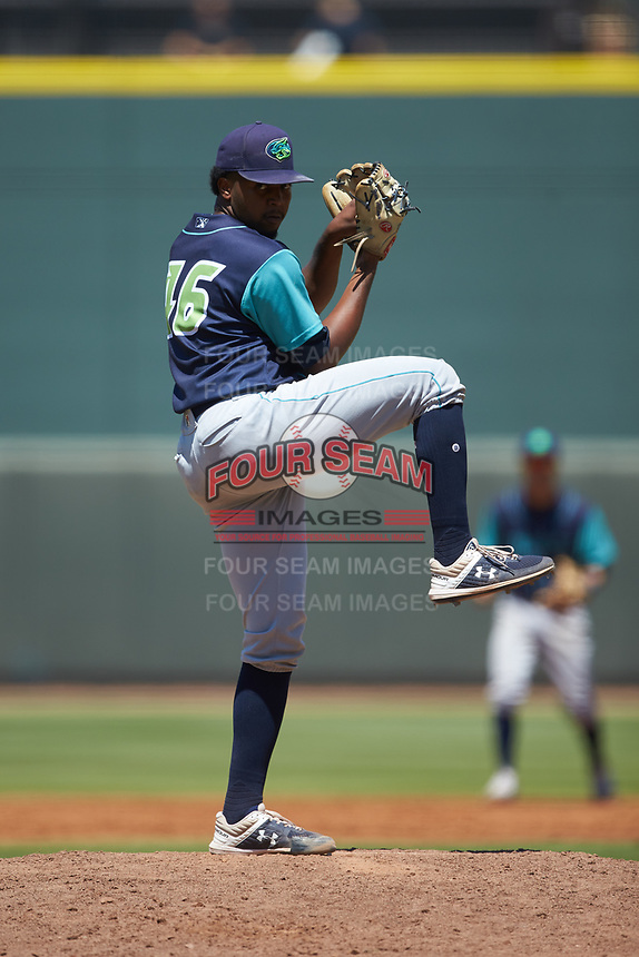 Lynchburg Hillcats starting pitcher Juan Hillman (46) in action against the Winston-Salem Rayados at BB&T Ballpark on June 23, 2019 in Winston-Salem, North Carolina. The Hillcats defeated the Rayados 12-9 in 11 innings. (Brian Westerholt/Four Seam Images)