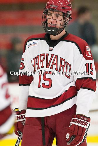 John Caldwell (Harvard - 15) - The visiting University of Massachusetts Lowell River Hawks defeated the Harvard University Crimson 5-0 on Monday, December 10, 2012, at Bright Hockey Center in Cambridge, Massachusetts.