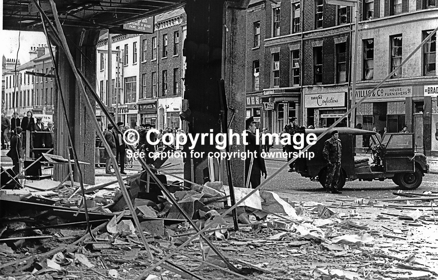 Scene from inside the office of the Automobile Association, Fanum House, Great Victoria Street, Belfast, N Ireland, following Provisional IRA bomb.19711010347b<br />