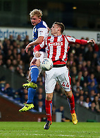 Blackburn Rovers' Harry Chapman competing with Stoke City U23s' Daniel Jarvis in the air<br /> <br /> Photographer Andrew Kearns/CameraSport<br /> <br /> The EFL Checkatrade Trophy - Blackburn Rovers v Stoke City U23s - Tuesday 29th August 2017 - Ewood Park - Blackburn<br />  <br /> World Copyright &copy; 2018 CameraSport. All rights reserved. 43 Linden Ave. Countesthorpe. Leicester. England. LE8 5PG - Tel: +44 (0) 116 277 4147 - admin@camerasport.com - www.camerasport.com