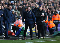 17th March 2019, The Den, London, England; The Emirates FA Cup, quarter final, Millwall versus Brighton and Hove Albion; Millwall manager  Neil Harris screaming at Referee Christopher Kavanagh after Referee Christopher Kavanagh shown Shane Ferguson of Millwall a red card for shoving Lewis Dunk of Brighton & Hove Albion on the pitch
