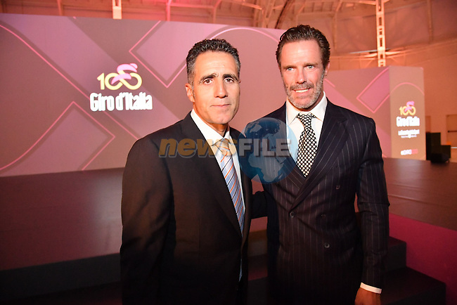 Former Champion Miguel Indurain and the record holder of most stage victories at the Giro with 42, Mario Cipollini at the 100th edition Giro d`Italia 2017 route presentation held at the Ice Palace in Milan, 25th October 2016.<br /> Picture: ANSA/Claudio Peri | Newsfile<br /> <br /> <br /> All photos usage must carry mandatory copyright credit (&copy; Newsfile | ANSA/Claudio Peri)