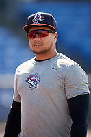 Binghamton Rumble Ponies right fielder Jhoan Urena (24) during batting practice prior to a game against the Erie SeaWolves on May 14, 2018 at NYSEG Stadium in Binghamton, New York.  Binghamton defeated Erie 6-5.  (Mike Janes/Four Seam Images)