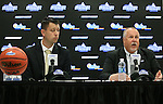 SIOUX FALLS, SD: MARCH 2: Sioux Falls Sports Authority Executive Director Bryan Miller, left, and Summit League Commissioner Tom Douple address the media during a press conference prior to the 2017 Summit League Basketball Championship Thursday at the Denny Sanford Premier Center in Sioux Falls, SD. (Photo by Dave Eggen/Inertia)