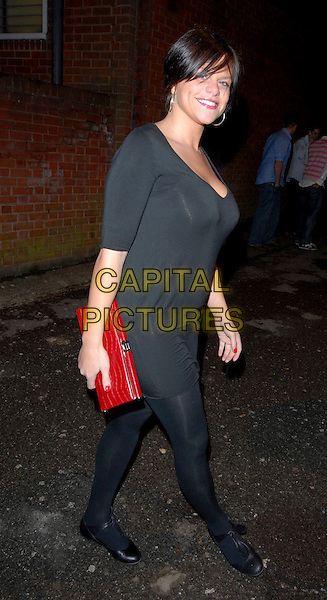 JADE GOODY.The Official Big Brother Party - Outside Arrivals at Club 195 Epping, Essex, UK.8th December 2006..full length black dress tights red clutch bag shoes ballet flats mary janes                   .CAP/BRC.©Ben Rector/Capital Pictures
