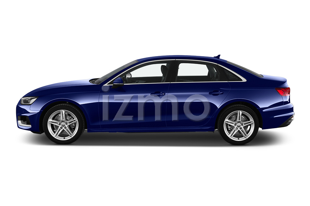 Car driver side profile view of a 2020 Audi A4 Advanced 4 Door Sedan