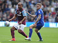 Aston Villa's Gabriel Agbonlahor vies for possession with Cardiff City's Aron Gunnarsson<br /> <br /> Photographer Ashley Crowden/CameraSport<br /> <br /> The EFL Sky Bet Championship - Cardiff City v Aston Villa - Saturday August 12th 2017 - Cardiff City Stadium - Cardiff<br /> <br /> World Copyright &copy; 2017 CameraSport. All rights reserved. 43 Linden Ave. Countesthorpe. Leicester. England. LE8 5PG - Tel: +44 (0) 116 277 4147 - admin@camerasport.com - www.camerasport.com