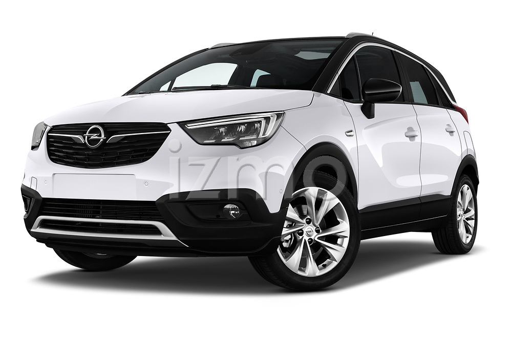 Stock pictures of low aggressive front three quarter view of a 2018 Opel Crossland X Innovation 5 Door SUV