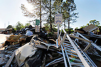 Debris from homes piled up on Todd Preis Drive, in the River Plantation housing complex in Nashville, Tennessee on Saturday, May 8, 2010.