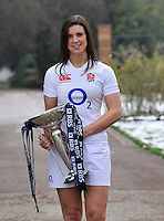 London, England. England captain Sarah Hunter poses with the Women's Six Nations trophy during the RBS Six Nations launch at The Hurlingham Club on January 23, 2013 in London, England.