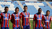 SANTA MARTA - COLOMBIA, 01-02-2019: Ricardo Marquez, Luis Carlos Arias, Hernan Luna del Unión durante el partido por la fecha 3 entre Unión Magdalena y La Equidad de la Liga Águila I 2019 jugado en el estadio Sierra Nevada de la ciudad de Santa Marta. / Ricardo Marquez, Luis Carlos Arias, Hernan Luna of Union during the match for the date 3 of the Aguila League I 2019 between Union Magdalena and La Equidad played at Sierra Nevada stadium in Santa Marta city. Photo: VizzorImage / Gustavo Pacheco / Cont
