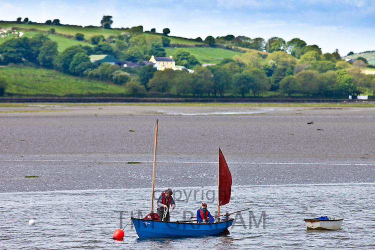 Fishermen on fishing boat in Courtmacsharry Bay, County Cork, Ireland