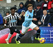 29th January 2019, St James Park, Newcastle upon Tyne, England; EPL Premier League football, Newcastle United versus Manchester City; Kyle Walker of Manchester City turns away from Christian Atsu of Newcastle United
