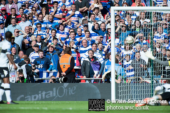 Queens Park Rangers 1 Derby County 0, 24/05/2014. Wembley Stadium, Championship Play Off Final. Queens Park Rangers supporters react as Bobby Zamora's last minute shot is about the hit the back of the net during the Championship Play-Off Final between Queens Park Rangers and Derby County from Wembley Stadium.  Photo by Simon Gill.
