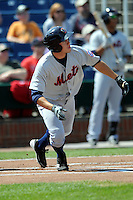 Binghamton Mets outfielder Matt Den Dekker #17  during a game versus the Portland Sea Dogs at Hadlock Field on April 15, 2012 in Portland, Maine.  (Ken Babbitt/Four Seam Images)