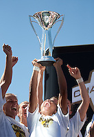 Marta holds up the 2010 WPS Championship Trophy. FC Gold Pride defeated the Philadelphia Independence 4-0 to win the 2010 WPS Championship at Pioneer Stadium in Hayward, California on September 26th, 2010.