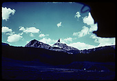 Lizard Head Peak viewed from Snow area, taken from the platform of an RGS train, judging by the overhanging roof.<br /> RGS  Snow, CO  ca. 1951