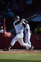 Wes Clarke (28) of the South Carolina Gamecocks follows through on his swing against the Holy Cross Crusaders at Founders Park on February 15, 2020 in Columbia, South Carolina. The Gamecocks defeated the Crusaders 9-4.  (Brian Westerholt/Four Seam Images)