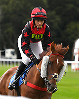 Frank's Legacy ridden by Jessica Llewellyn goes down to the start  of The Gift Of Sight Handicap during Evening Racing at Salisbury Racecourse on 3rd September 2019