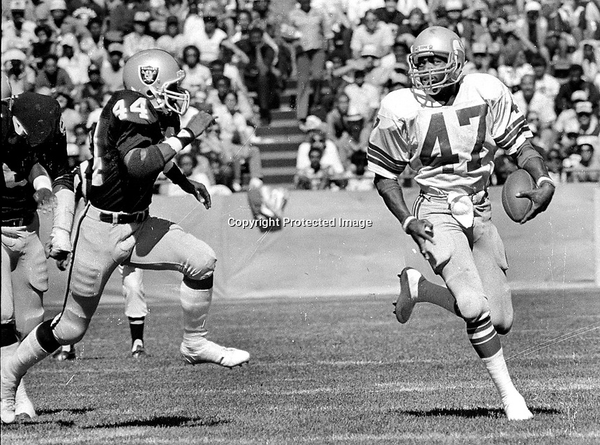 Seattle Sherman Smithchased by Oakland Raider #44 Burgess Owens..(1981 photo/Ron Riesterer)0