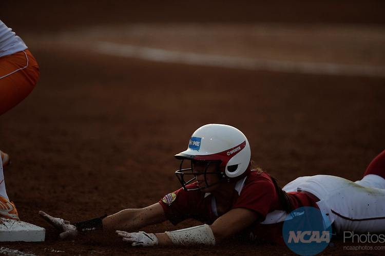 04 JUNE 2013: The University of Oklahoma  takes on the University of Tennessee during the Division I Women's Softball Championship held at ASA Hall of Fame Stadium in Oklahoma City, OK. Oklahoma defeated Tennessee 4-0 to win the national championship.  Shane Bevel/NCAA Photos
