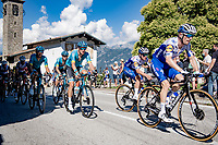 Dries Devenyns (BEL/Deceuninck - QuickStep) guiding Remco Evenepoel (BEL/Deceuninck-Quickstep) (& Jakob Fuglsang) up the Madonna del Ghisallo (754m)<br /> <br /> 114th Il Lombardia 2020 (1.UWT)<br /> 1 day race from Bergamo to Como (ITA/231km) <br /> <br /> ©kramon