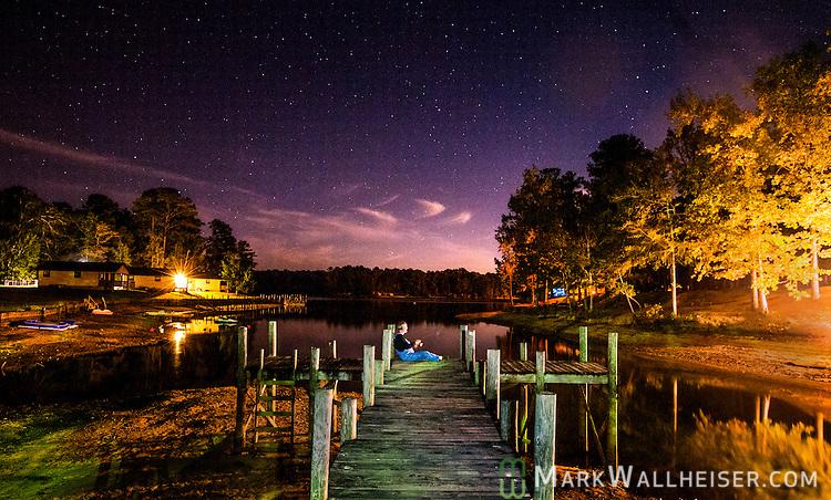 The moon and stars on the water at Lake Martin near Alexander City , Alabama.