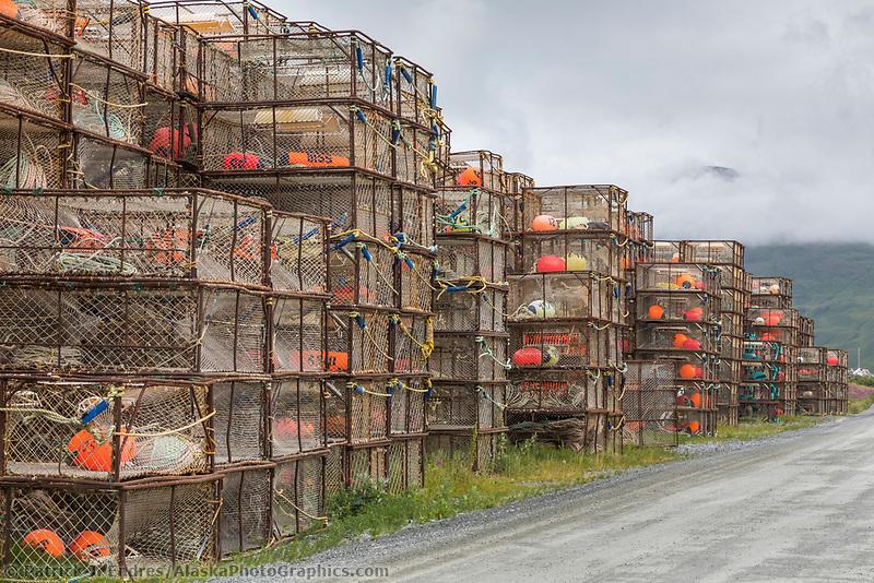 Crab pots stacked at the International Port of Dutch Harbor, Aleutian Islands, Alaska.