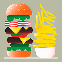 Tall hamburger and large pile of chips