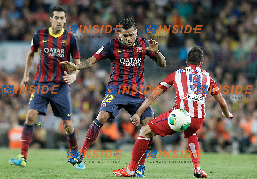 FC Barcelona's Sergio Busquets (l) an Daniel Alves (c) and Atletico de Madrid's David Villa during Supercup of Spain 2nd match.August 28,2013. (ALTERPHOTOS/Acero) <br /> Football Calcio 2013/2014<br /> La Liga Spagna Supercoppa di Spagna Barcellona - Atletico MAdrid <br /> Foto Alterphotos / Insidefoto <br /> ITALY ONLY
