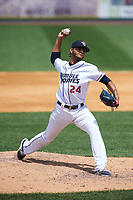 Binghamton Rumble Ponies starting pitcher Marcos Molina (24) delivers a pitch during a game against the Hartford Yard Goats on July 9, 2017 at NYSEG Stadium in Binghamton, New York.  Hartford defeated Binghamton 7-3.  (Mike Janes/Four Seam Images)