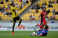 Kenny Cunningham and Eugene Galekovic ( GK ) during the A League - Wellington Phoenix v Adelaide United, Wellington, New Zealand on Sunday 30 March 2014. <br /> Photo by Masanori Udagawa. <br /> www.photowellington.photoshelter.com.