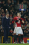 Bastian Schweinsteiger of Manchester United replaces Anthony Martial of Manchester United during the English League Cup Quarter Final match at Old Trafford  Stadium, Manchester. Picture date: November 30th, 2016. Pic Simon Bellis/Sportimage