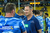 Blues head coach Leon McDonald after winning the Super Rugby match between the Hurricanes and Blues at Sky Stadium in Wellington, New Zealand on Saturday, 7 March 2020. Photo: Dave Lintott / lintottphoto.co.nz