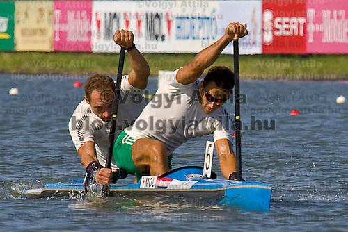 Hungary's men canoe 2 unit Kozmann and Kolonics closing to the finish line during the Kayak-Canoe World Championships.