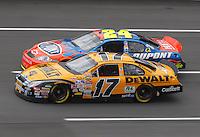 Apr 27, 2007; Talladega, AL, USA; Nascar Nextel Cup Series driver Matt Kenseth (17) races alongside Jeff Gordon (24) during practice for the Aarons 499 at Talladega Superspeedway. Mandatory Credit: Mark J. Rebilas