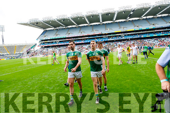 Jack Sherwood, and Gavin Crowley, Kerry celebrates after the All Ireland Senior Football Semi Final between Kerry and Tyrone at Croke Park, Dublin on Sunday.