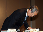 December 27, 2016, Tokyo, Japan - Japan's troubled electronics giant Toshiba president Satoshi Tsunakawa bows his head as he speaks before press at the company's headquarters in Tokyo on Friday, January 27, 2017. Toshiba will spin off its semiconductor business to raise funds as Toshiba's nuclear subsidiary Westinghouse had a massive loss in the US business.   (Photo by Yoshio Tsunoda/AFLO) LWX -ytd-