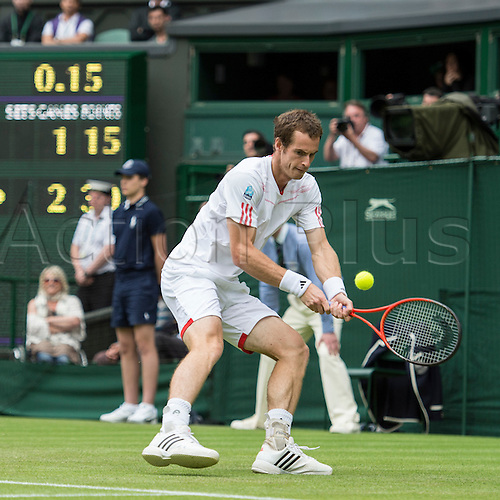 26.06.2012. The Wimbledon Tennis Championships 2012 held at The All England Lawn Tennis and Croquet Club, London, England, UK.  ..Andy Murray (GBR) [4] v Nikolay Davydenko (RUS). Andy in action. ..