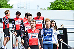 Trek-Segafredo mens and ladies teams at the team presentation before the start of the 105th edition of Liège-Bastogne-Liège 2019, La Doyenne, running 256km from Liege to Liege, Belgium. 27th April 2019<br /> Picture: ASO/Gautier Demouveaux | Cyclefile<br /> All photos usage must carry mandatory copyright credit (© Cyclefile | ASO/Gautier Demouveaux)