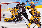 Kevin Sullivan (Union - 16), Mike Reilly (MN - 5), Jake Parenteau (MN - 6) - The Union College Dutchmen defeated the University of Minnesota Golden Gophers 7-4 to win the 2014 NCAA D1 men's national championship on Saturday, April 12, 2014, at the Wells Fargo Center in Philadelphia, Pennsylvania.