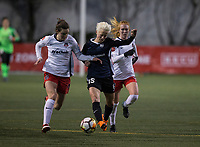 Seattle, WA - Saturday March 24, 2018: Andi Sullivan, Megan Rapinoe, Tori Huster during a regular season National Women's Soccer League (NWSL) match between the Seattle Reign FC and the Washington Spirit at the UW Medicine Pitch at Memorial Stadium.