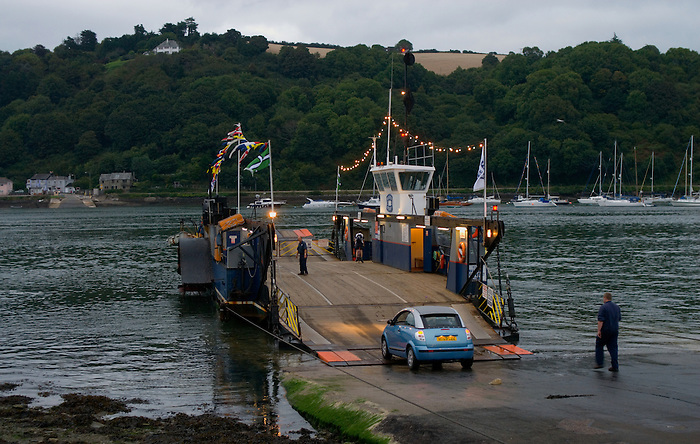 The Higher Ferry in Dartmouth at dusk.